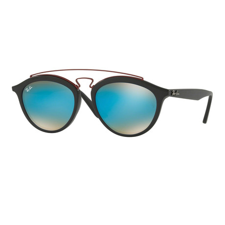 Unisex Round Aviator Sunglasses // Black + Blue (50mm)