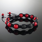 Triple Diamonds + Coral Bracelet (Small)