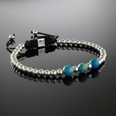Sky Blue Impression Jasper + Sterling Silver Bracelet (Small)