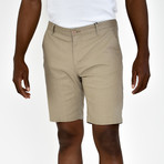 Linen Feel Stretch Shorts // Khaki (34)
