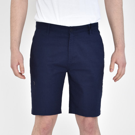 Linen Feel Stretch Shorts // Navy (30)