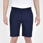 Linen Feel Stretch Shorts // Navy (32)