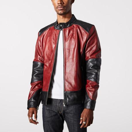 Hades Biker Jacket // Black + Burgundy (XS)