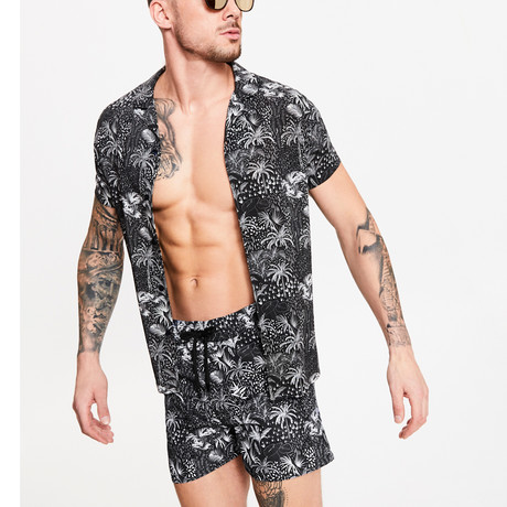 Hawaiian Tropical Printed Shirt // Black + White (XS)