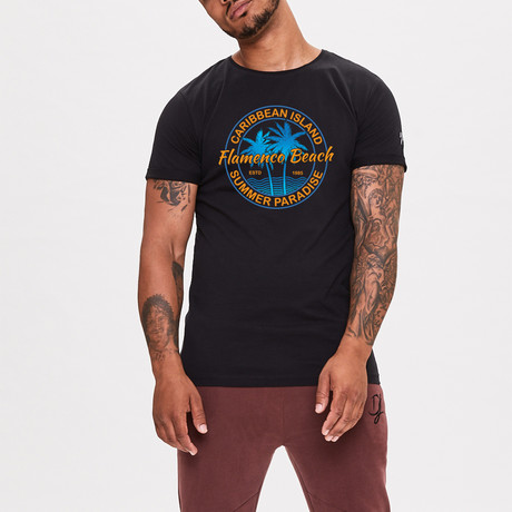 Beach Logo Printed T-Shirt // Black (XS)