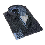 Bancroft Print Button-Up Shirt // Navy (M)
