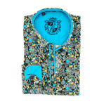 Philo Print Button-Up Shirt // Turquoise (M)
