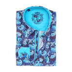 Jerome Print Button-Up Shirt // Blue (M)