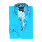 Pasi Print Button-Up Shirt // Turquoise (2XL)