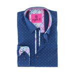 Serhan Print Button-Up Shirt // Navy (S)