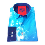 Kiril Print Button-Up Shirt // Blue (L)