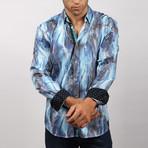 Saldin Print Button-Up Shirt // Navy (S)