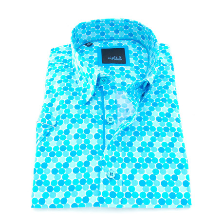 Deion Print Button-Up Shirt // Turquoise (S)