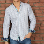 Balfour Print Button-Up Shirt // Turquoise (3XL)