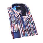 Joran Print Button-Up Shirt // Fuchsia (L)