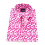 Seppo Print Button-Up Shirt // Fuchsia (3XL)