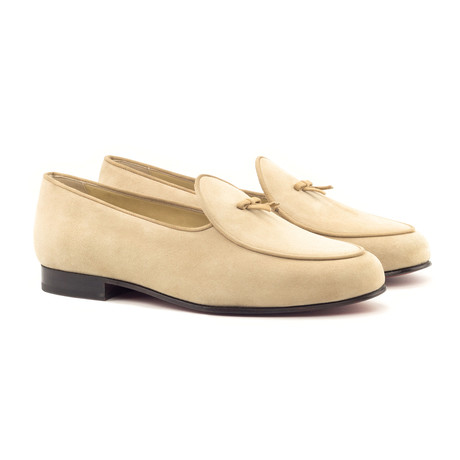 Belgian Bow Slippers // Taupe + Camel (UK: 5.5)