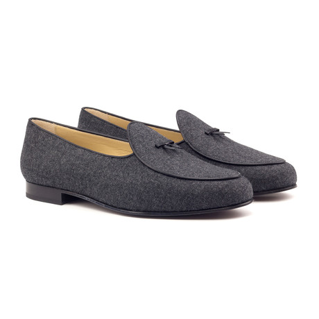 Belgian Bow Slippers // Dark Gray + Black (UK: 5.5)