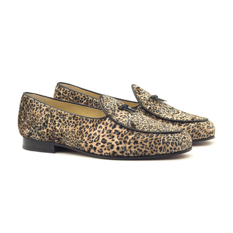 Belgian Bow Slippers // Leopard + Black (UK: 5.5)