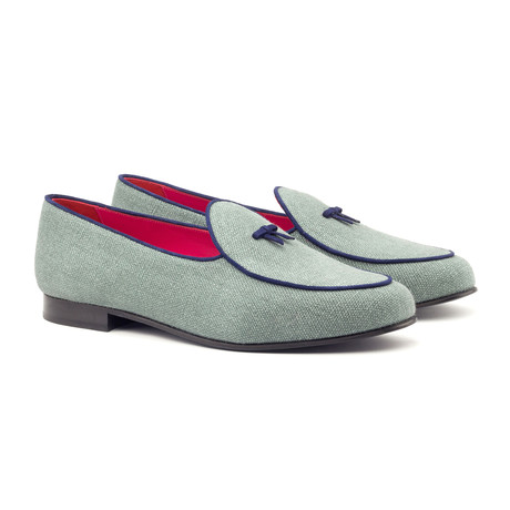 Belgian Bow Slippers // Seafoam + Navy (UK: 5.5)