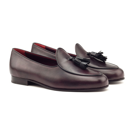 Belgian Tassel Slippers // Oxblood + Black (UK: 5.5)