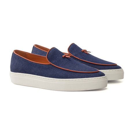 Belgian Bow Sneaker // Navy + Brown (UK: 5.5)