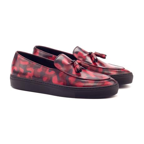 Belgian Tassel Sneaker // Burgundy Camo (UK: 5.5)