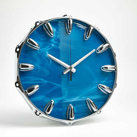 "Chrome Drum Lug Wall Clock 14"" // Blue Wave"
