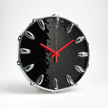 "Chrome Drum Lug Wall Clock 14"" // Black Wave"