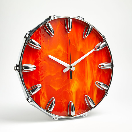 "Chrome Drum Lug Wall Clock 14"" // Orange Flame"