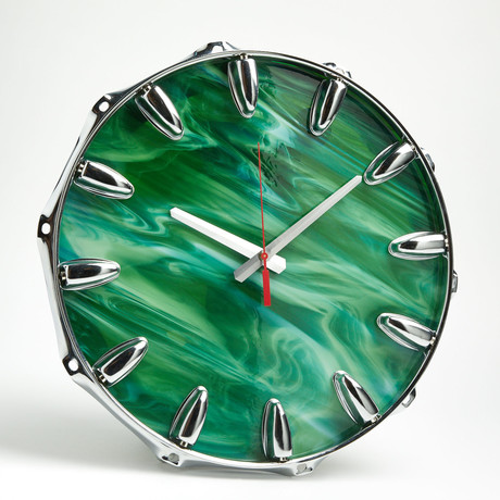 "Chrome Drum Lug Wall Clock 14"" // Green Wave"