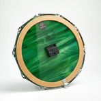 "Chrome Drum Lug Wall Clock 14"" // Green Wave"
