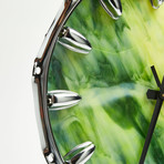 "Chrome Drum Lug Wall Clock 14"" // Green Yellow Wave"