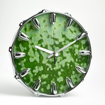 "Chrome Drum Lug Wall Clock 14"" // Green Spot"