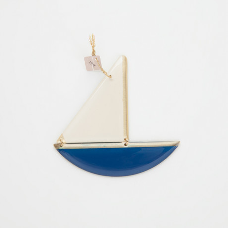 Bronze Boat Pendant // Navy (M)