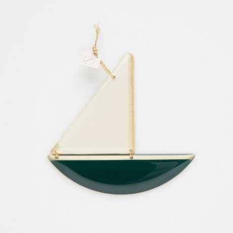 Bronze Boat Pendant // Petrol (M)
