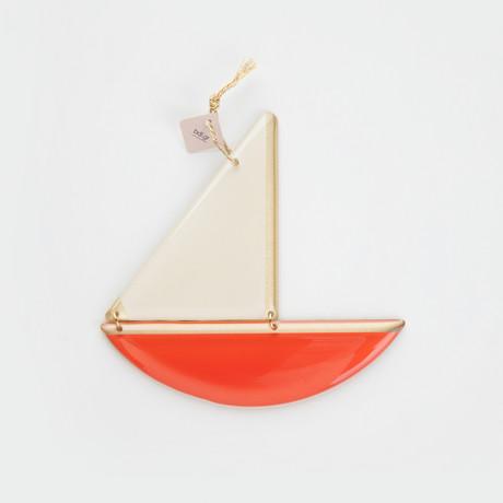 Bronze Boat Pendant // Red (M)