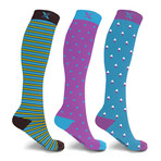 Midnight Knee High Compression Socks // 3-Pairs (Small / Medium)