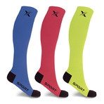 Run+ Elite Knee High Compresion Socks // 3 Pairs (Small / Medium)