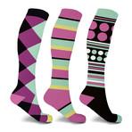 Jumble Mumble Knee High Compression Socks // 3-Pairs (Small / Medium)