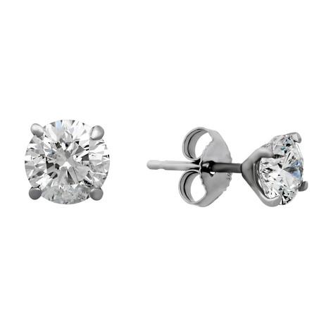 Estate 14K White Gold Brilliant Diamond Stud Earrings I