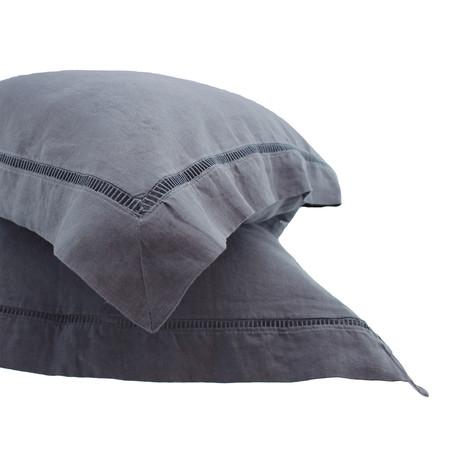 Linen Sham Pr Ladder Hem // Standard (Dark Gray)