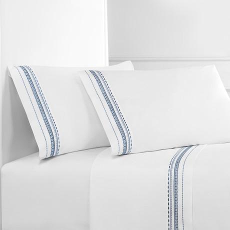 Winsley Emb Sheet Set // Slate On White (Twin)