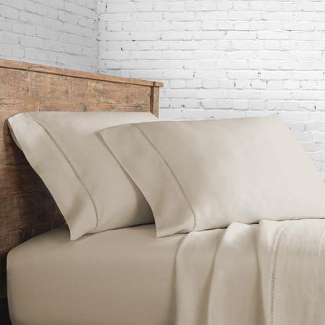 Linen Sheet Set Ladder Hem // Natural (Queen)