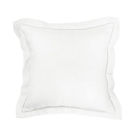 Linen Sham Pr Ladder Hem // Euro (White)