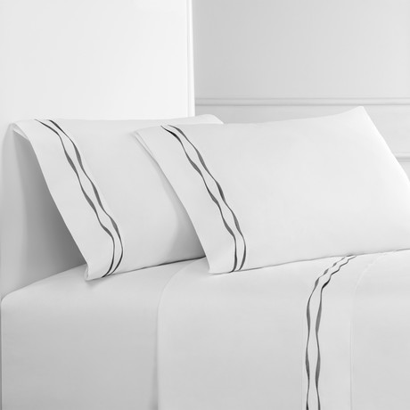Wavy Stripe Embroidered Sheet Set // Charcoal On White (King)