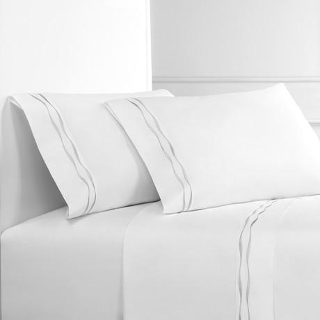 Wavy Stripe Embroidered Sheet Set // Gray On White (Full)