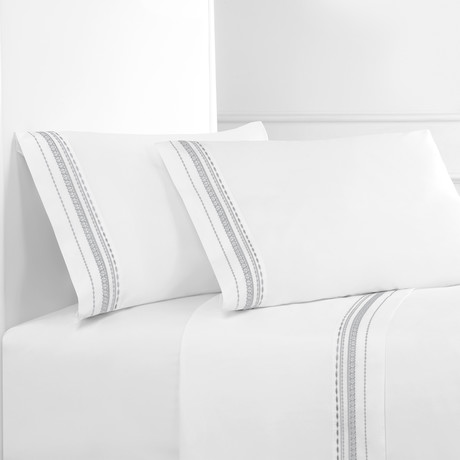 Winsley Emb Sheet Set // Grey On White (Twin)