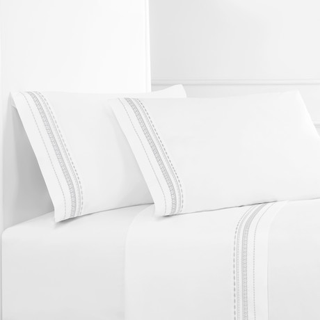 Winsley Embroidered Sheet Set // White + White (Twin)