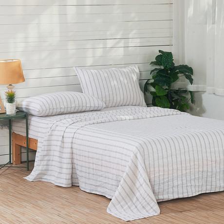 Linen Yarn Dyed Sheet Set // White Stripe (Queen)